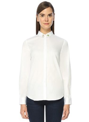Maison Yakası Nakışlı İngiliz Yaka Uzun Kollu Gömlek  Beyaz